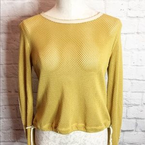 Rag & Bone Mustard Mesh Zipper Crop Top Small